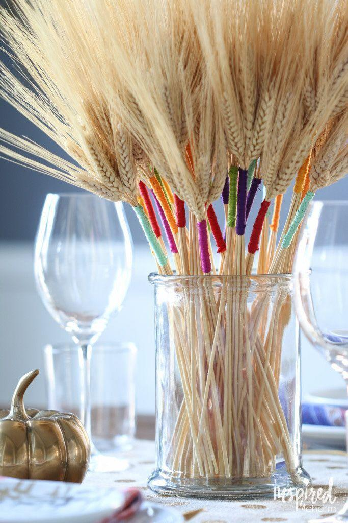 """<p>Wrap wheat stalks in embroidery floss, place them in a clear glass vase, and your fall dinner table is complete. <br></p><p><em><a href=""""http://inspiredbycharm.com/2015/11/diy-color-wrapped-wheat.html"""" rel=""""nofollow noopener"""" target=""""_blank"""" data-ylk=""""slk:Get the tutorial at Inspired By Charm »"""" class=""""link rapid-noclick-resp"""">Get the tutorial at Inspired By Charm »</a></em></p>"""
