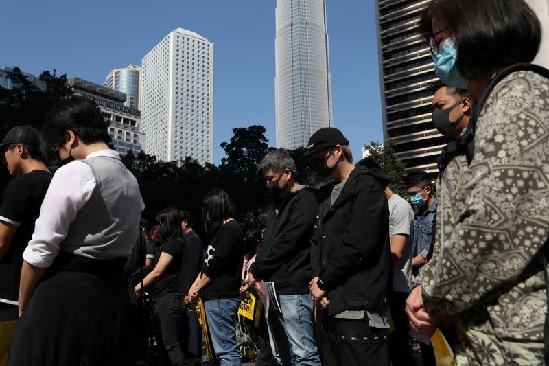 Lunchtime protest at Chater Garden in Hong Kong