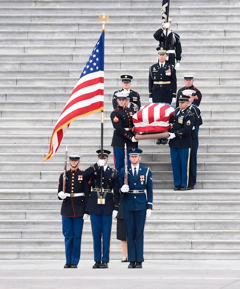 George H.W. Bush's casket leaves the U.S. Capitol Building