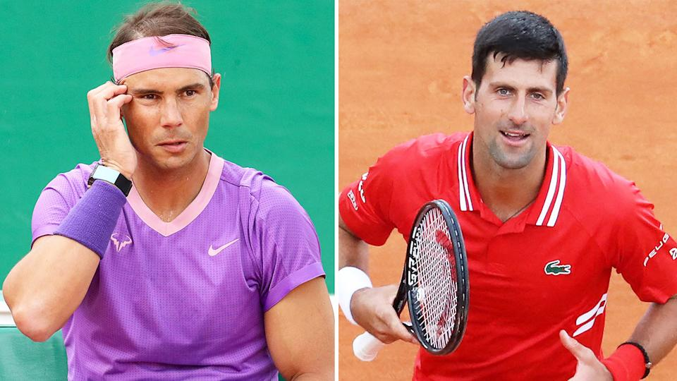 Rafael Nadal (pictured left) during changeover and Novak Djokovic (pictured right) celebrating his victory.
