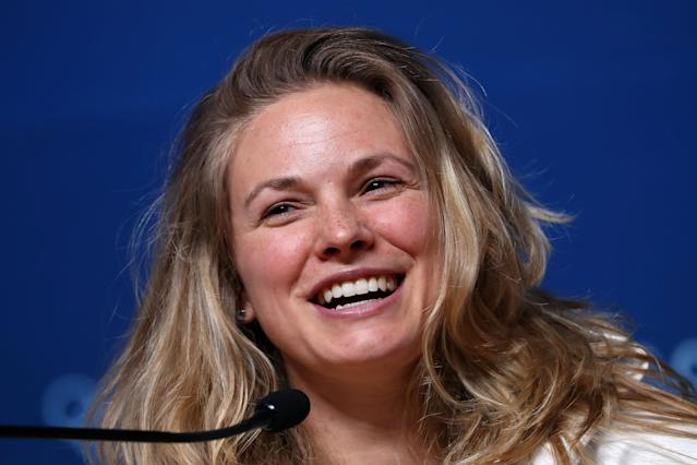 <p>United States Cross-Country Skier Jessica Diggins attends a press conference at the Main Press Centre during previews ahead of the PyeongChang 2018 Winter Olympic Games on February 7, 2018 in Pyeongchang-gun, South Korea. (Photo by Matt Blyth/Getty Images) </p>