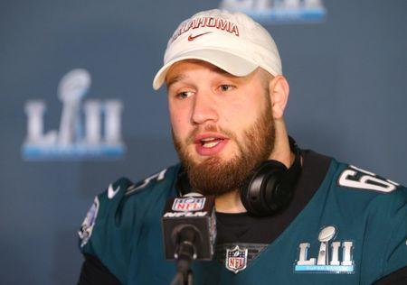Jan 31, 2018; Bloomington, MN, USA; Philadelphia Eagles offensive tackle Lane Johnson during a press conference in advance of Super Bowl LII against the New England Patriots at Mall of America. Mandatory Credit: Jerry Lai-USA TODAY Sports