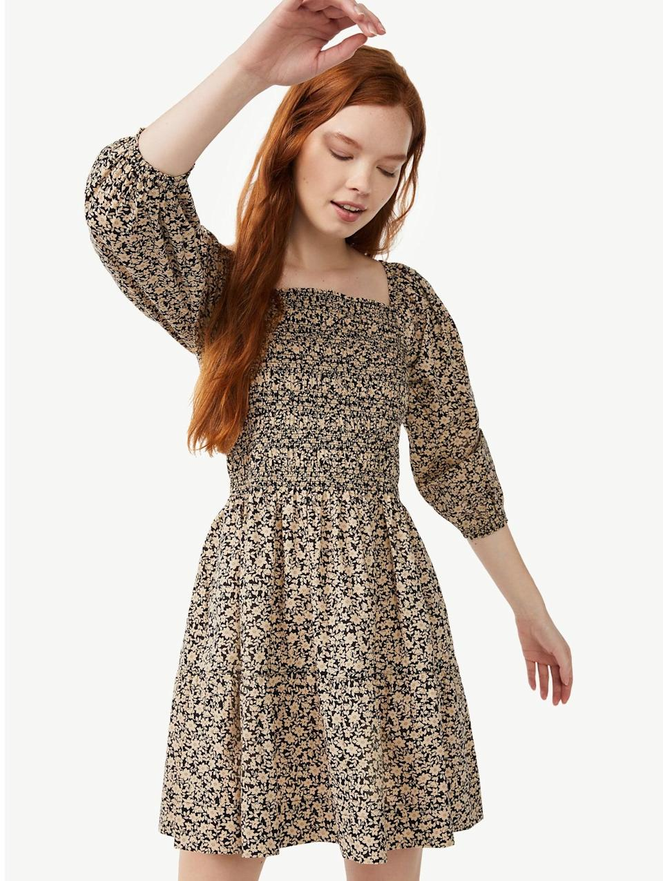 <p>Be warned: this one's selling out fast (at the time of writing, anyway!) The <span>Free Assembly Women's Square Neck Smocked Mini Dress</span> ($32) comes in three patterns, and our favorite for fall is the True Black Ditsy one, which would look incredible with a pair of cowboy boots.</p>