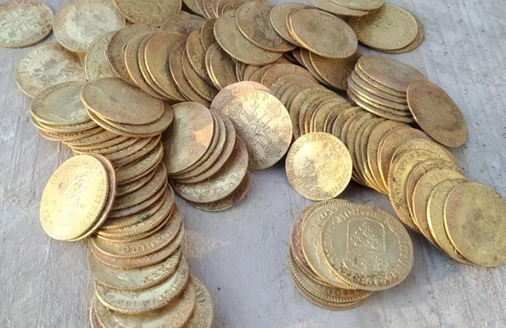Pile of coins dating back to 1638.