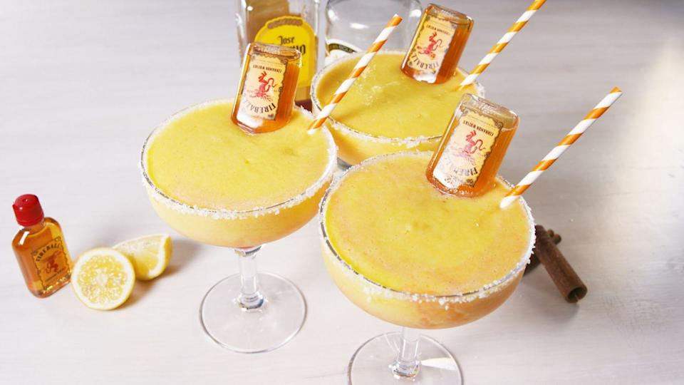 "<p>Spice up your marg game with a jolt of cinnamon-flavored whisky.</p><p>Get the recipe from <a href=""https://www.delish.com/cooking/recipe-ideas/recipes/a46695/fireball-margaritas-recipe/"" rel=""nofollow noopener"" target=""_blank"" data-ylk=""slk:Delish"" class=""link rapid-noclick-resp"">Delish</a>.</p>"
