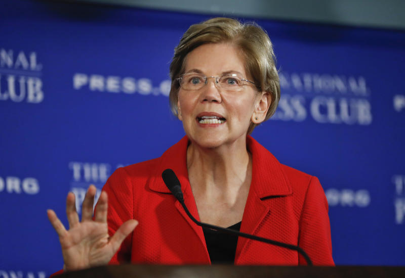 "FILE - In this Aug. 21, 2018, file photo, Sen. Elizabeth Warren, D-Mass., gestures while speaking at the National Press Club in Washington. Warren is striking back at President Donald Trump over his constant ridicule of her claim of Native American ancestry, saying comments Trump has made are ""creepy."" (AP Photo/Pablo Martinez Monsivais, File)"