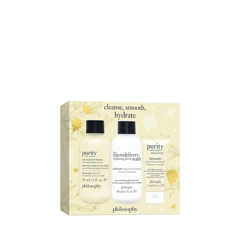 <p>By purchasing this <span>Glow All Year Long Set</span> ($20) from Philosophy, you will be helping the brand's <span>hope &amp; grace initiative</span> and supporting women's mental health efforts.</p>