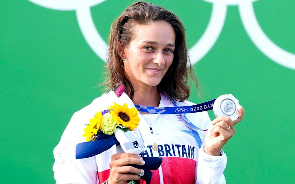 Great Britain's Mallory Franklin celebrates with her silver medal after the Women's C1 Canoe Slalom - PA/Danny Lawson