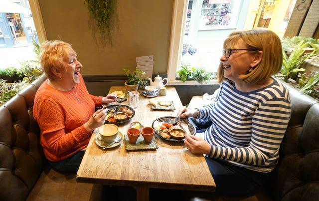 Karen McPherson (left) and Val Cavanagh at the Forest restaurant in York (Danny Lawson/PA)