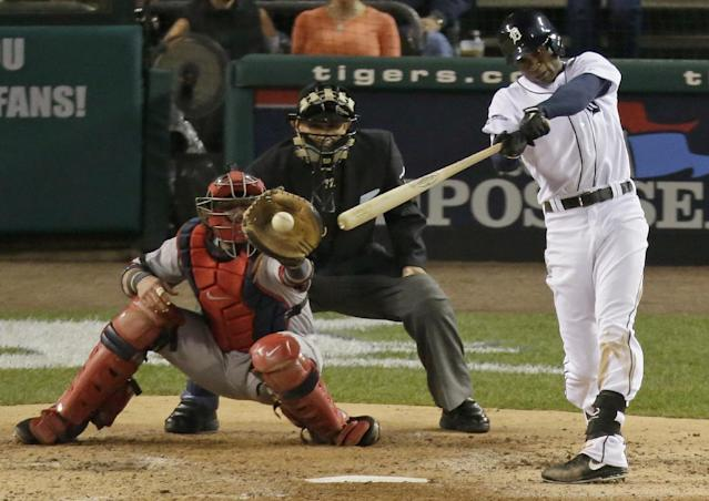 Detroit Tigers' Austin Jackson hits an infield single in the fourth inning during Game 4 of the American League baseball championship series against the Boston Red Sox, Wednesday, Oct. 16, 2013, in Detroit. (AP Photo/Charlie Riedel)