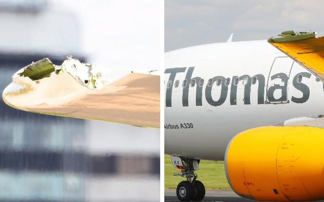 This broken wing wasn't why the plane made an emergency landing, apparently