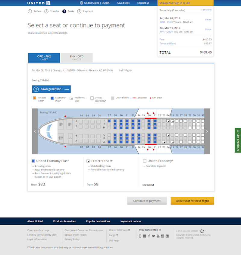 """United Airlines now charges for """"preferred'' seats in economy. They are $9 each on a Chicago to Phoenix flight in March."""