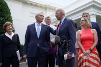 U.S. President Joe Biden speaks following a bipartisan meeting with U.S. senators about the proposed framework for the infrastructure bill