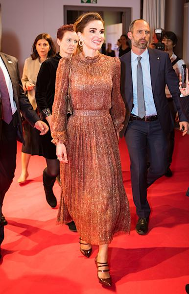 Queen Rania of Jordan is undoubtedly one of the world's most stylish royal ladies. She's got the lot – model looks, fab fashion sense and that knack of dressing perfectly for every situation. Oh, and it helps to have access to the most stunning designer clothes too. We're not jealous at all. Now, as the Jordan monarch celebrates 20 years on the throne, we decided to pay homage to the elegant royal with a collection of her best outfits since 1999, and there have been A LOT. Sit back and be inspired by Queen Rania's past and present ensembles…That denim skirtRania wore the most divine three-quarter length denim skirt in February 2019, for an engagement with Queen Maxima of the Netherlands. We loved her double belt feature and matching stilettos.