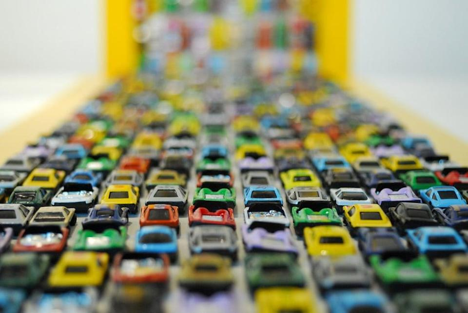 "<p>Using masking tape, create a ""race track"" for kiddie cars to zoom throughout the house. Be imaginative with walls, rugs, and obstacles - just be careful around delicate wallpaper and painted walls.</p>"