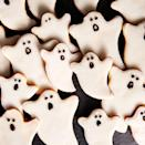 """<p>Simple sugar cookies in scary shapes, topped with royal icing, make a fun and easy Halloween craft.</p><p><em><a href=""""https://www.delish.com/holiday-recipes/halloween/a28637917/ghost-cookies-recipe/"""" rel=""""nofollow noopener"""" target=""""_blank"""" data-ylk=""""slk:Get the recipe from Delish »"""" class=""""link rapid-noclick-resp"""">Get the recipe from Delish »</a></em></p>"""