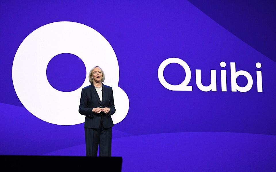 Quibi chief executive Meg Whitman speaks about the short-form video streaming service during a keynote address at the 2020 Consumer Electronics Show - ROBYN BECK/AFP