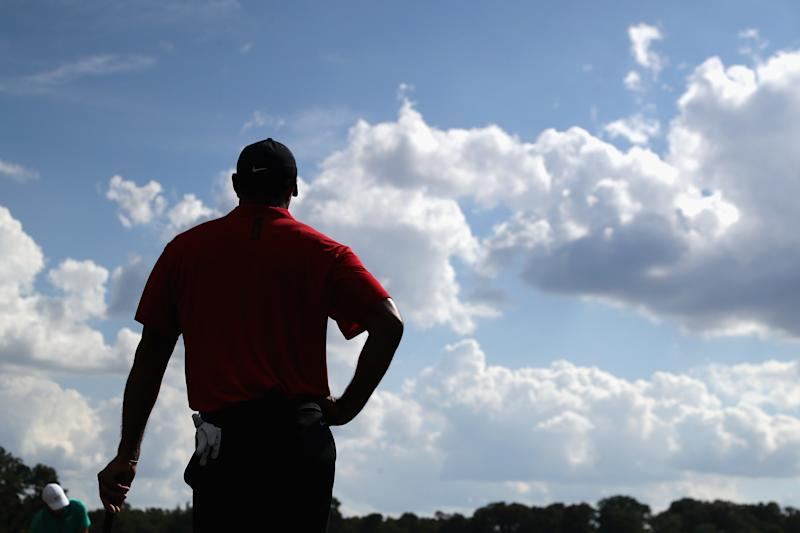 ATLANTA, GA - SEPTEMBER 23: Tiger Woods of the United States stands on the eighth green during the final round of the TOUR Championship at East Lake Golf Club on September 23, 2018 in Atlanta, Georgia. (Photo by Kevin C. Cox/Getty Images)