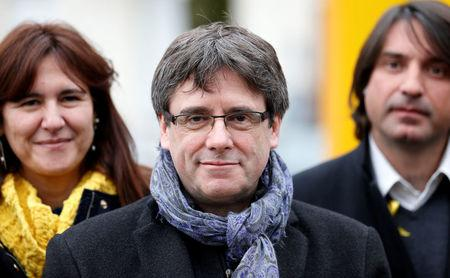Former Catalan leader Puigdemont attends a meeting with his party 'Junts per Catalunya' parliament group in Brussels