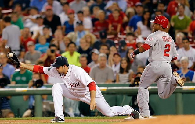 FOXBORO, MA - AUGUST 21: Erick Aybar #2 of the Los Angeles Angels is out at first as Adrian Gonzalez #28 of the Boston Red Sox holds on to the ball at Fenway Park on August 21, 2012 in Boston, Massachusetts. (Photo by Jim Rogash/Getty Images)