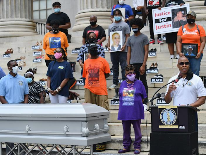 Brooklyn borough President Eric Adams speaks during a vigil honoring recent victims of shootings in New York, with mothers who have lost children to gun violence and anti-violence advocates on July 8, 2020 at Borough Hall in New York.