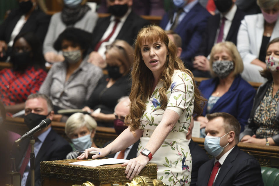 In this handout photo provided by UK Parliament, Deputy Labour leader Angela Rayner speaks during Prime Minister's Questions at the House of Commons, London, Wednesday, Sept. 22, 2021. (Jessica Taylor/UK Parliament via AP)