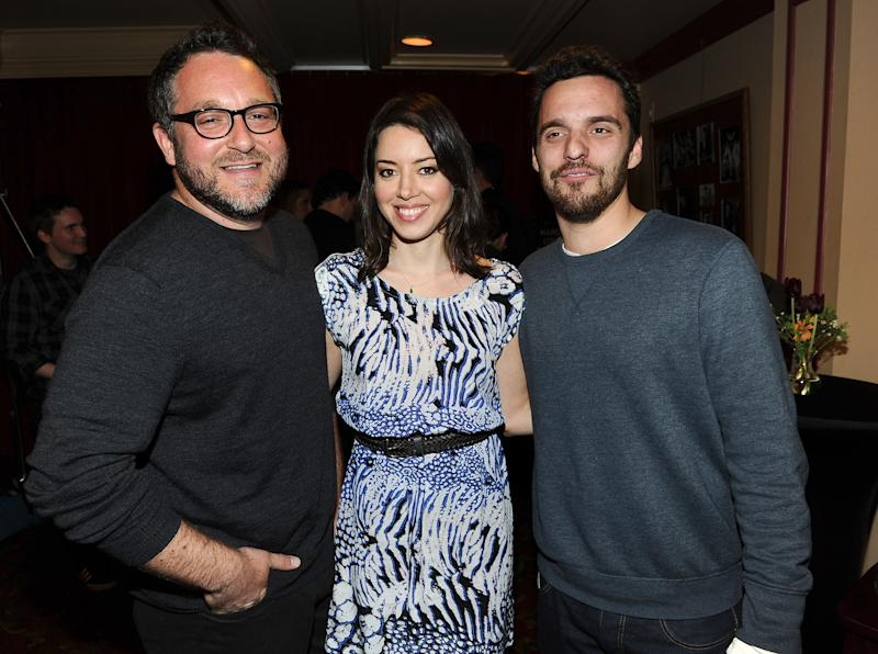 "AUSTIN, TX - MARCH 10: (L-R) Director Colin Trevorrow, actress Aubrey Plaza and actor Jake Johnson attend the screening of ""Safety Not Guaranteed"" during the 2012 SXSW Music, Film + Interactive Festival at Paramount Theatre on March 10, 2012 in Austin, Texas. (Photo by Michael Buckner/Getty Images for SXSW)"