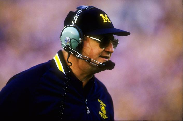 Image: Head coach Bo Schembechler of Michigan at the Rose Bowl in Pasadena, Calif., in 1987. (Rick Stewart / Allsport / Getty Images file)
