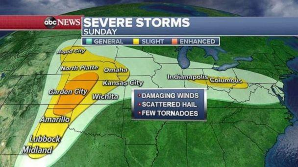 PHOTO: The severe weather threat will continue in the Southern Plains on Sunday. (ABC News)