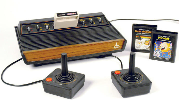 """This undated photo provided in 2007 by the Strong National Museum of Play in Rochester, N.Y. shows an Atari video game system. A group of filmmakers plans to dig up a concrete-covered landfill in the New Mexico desert on Saturday, April 26, 2014 to search for a large cache of discarded copies of """"E.T. The Extraterrestrial"""" game. (AP Photo/Strong National Museum of Play)"""