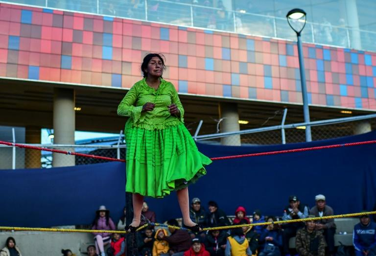 """Bolivian wrestler Lidia Flores, aka """"Dina, The Queen of the Ring,"""" readies for action"""