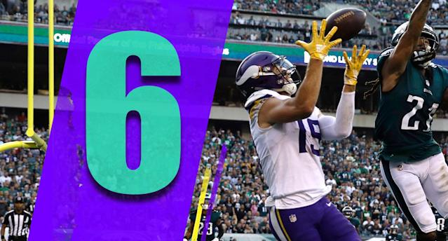 <p>Kirk Cousins' numbers through five games: 1,688 yards, 11 touchdowns, two interceptions, a 71.2 completion percentage and a 105.1 rating. Pretty, pretty good. (Adam Thielen) </p>