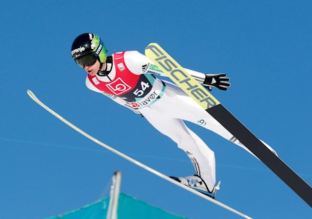 Ski Jumping - FIS World Cup - Men's HS240 Qualification - Vikersund, Norway - March 16, 2018 Peter Prevc of Slovenia in action. Terje Bendiksby/NTB Scanpix/via REUTERS ATTENTION EDITORS - THIS IMAGE WAS PROVIDED BY A THIRD PARTY. NORWAY OUT.