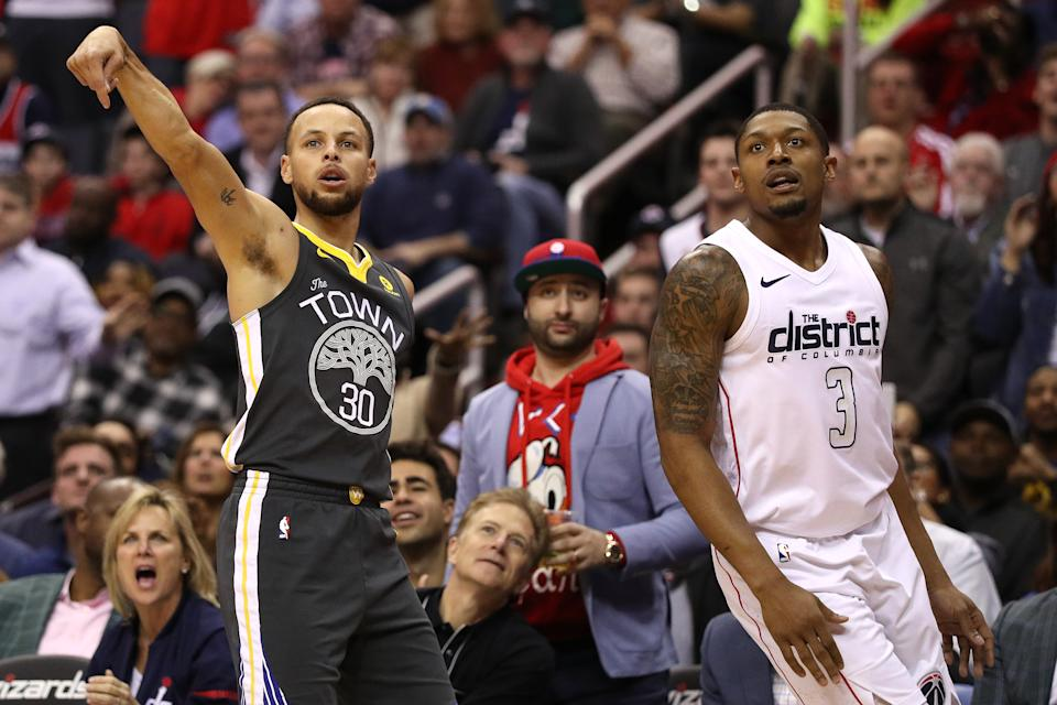 Stephen Curry and Bradley Beal may be the two most likely players to reach 81 points in a single game. (Patrick Smith/Getty Images)