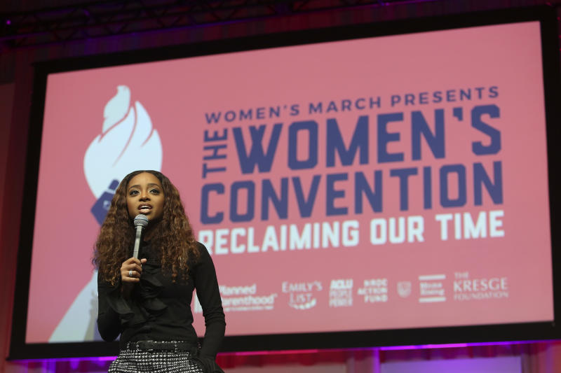 Tamika Mallory speaks at The Women's Convention.  (Pacific Press via Getty Images)