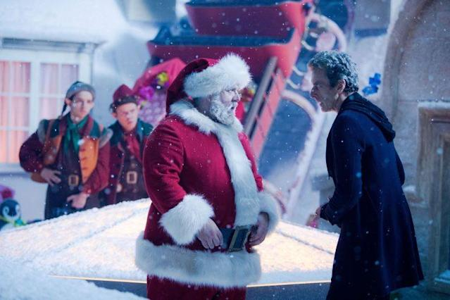 Nathan McMullen, Dan Starkey, Nick Frost, and Peter Capaldi in 'Last Christmas.' (Photo Credit: BBC)