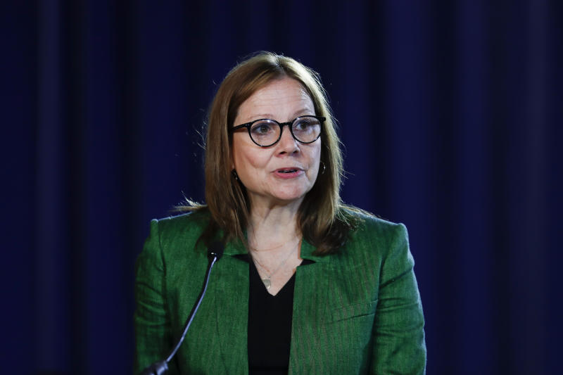 FILE - In this July 16, 2019, file photo, General Motors Chairman and Chief Executive Officer Mary Barra speaks during the opening of GM's contract talks with the United Auto Workers in Detroit. A federal judge took a remarkable step Tuesday, June 23, 2020, by ordering the CEOs of General Motors and Fiat Chrysler to meet and settle a lawsuit over whether one company got a competitive edge over the other when union leaders were showered with cash and other perks. (AP Photo/Paul Sancya, File)