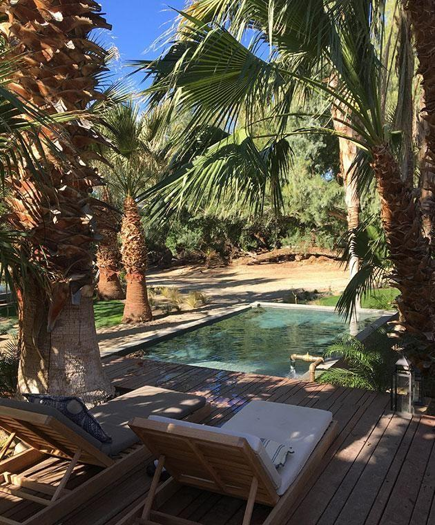 One of the hidden pools where you can soak in the mineral-rich hot springs at Two Bunch Palms day spa. Photo: Erin Van Der Meer