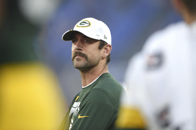 Green Bay Packers quarterback Aaron Rodgers looks on from the sideline during the first half of a NFL football preseason game against the Baltimore Ravens, Thursday, Aug. 15, 2019, in Baltimore. (AP Photo/Gail Burton)