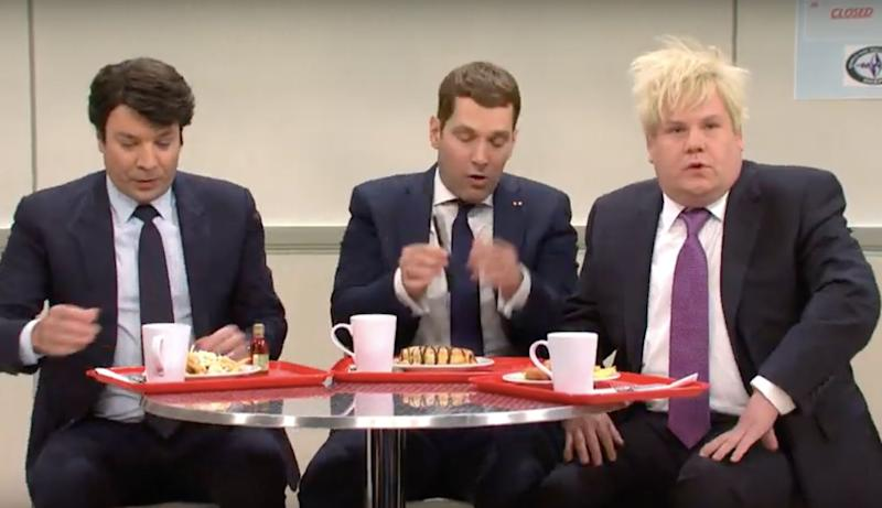 James Corden played Boris Johnson in the sketch, which aired on Saturday night (Photo: NBC)