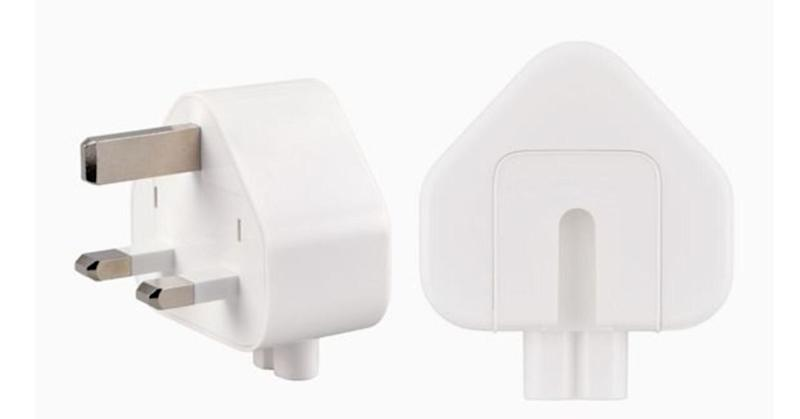 The affected three-prong wall plug adapters: White in colour, with no letters in the inside slot where it attaches to an Apple power adapter. (PHOTO: Apple)
