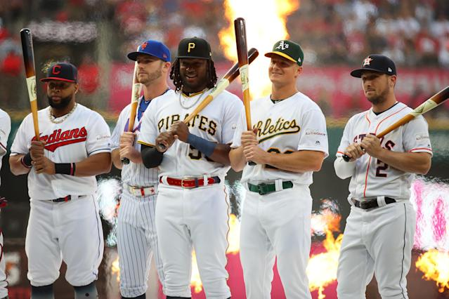 Carlos Santana of the Cleveland Indians, Pete Alonso of the New York Mets, Josh Bell of the Pittsburgh Pirates, Matt Chapman of the Oakland Athletics, and Alex Bregman of the Houston Astros stand prior to the T-Mobile Home Run Derby at Progressive Field on July 08, 2019 in Cleveland, Ohio. (Photo by Gregory Shamus/Getty Images)