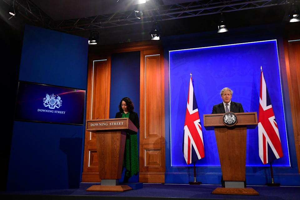 The press conference today with Boris Johnson and Dr Nikita Kanani, medical director of primary care for NHS EnglandGetty Images