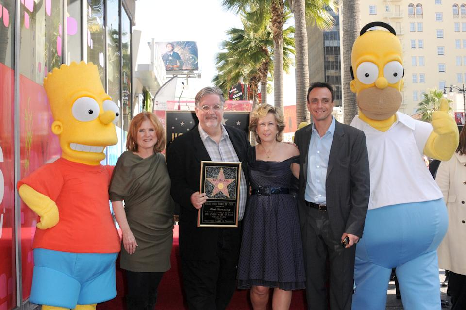 Actress Nancy Cartwright, creator Matt Groening, actress Yeardley Smith and actor Hank Azaria at the Matt Groening Hollywood Walk Of Fame ceremony on February 14, 2012 in Hollywood, California.  (Photo by Albert L. Ortega/Getty Images)