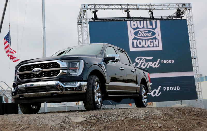 FILE PHOTO: Ford Motor Co displays a new 2021 Ford F-150 pickup truck at the Rouge Complex in Dearborn, Michigan