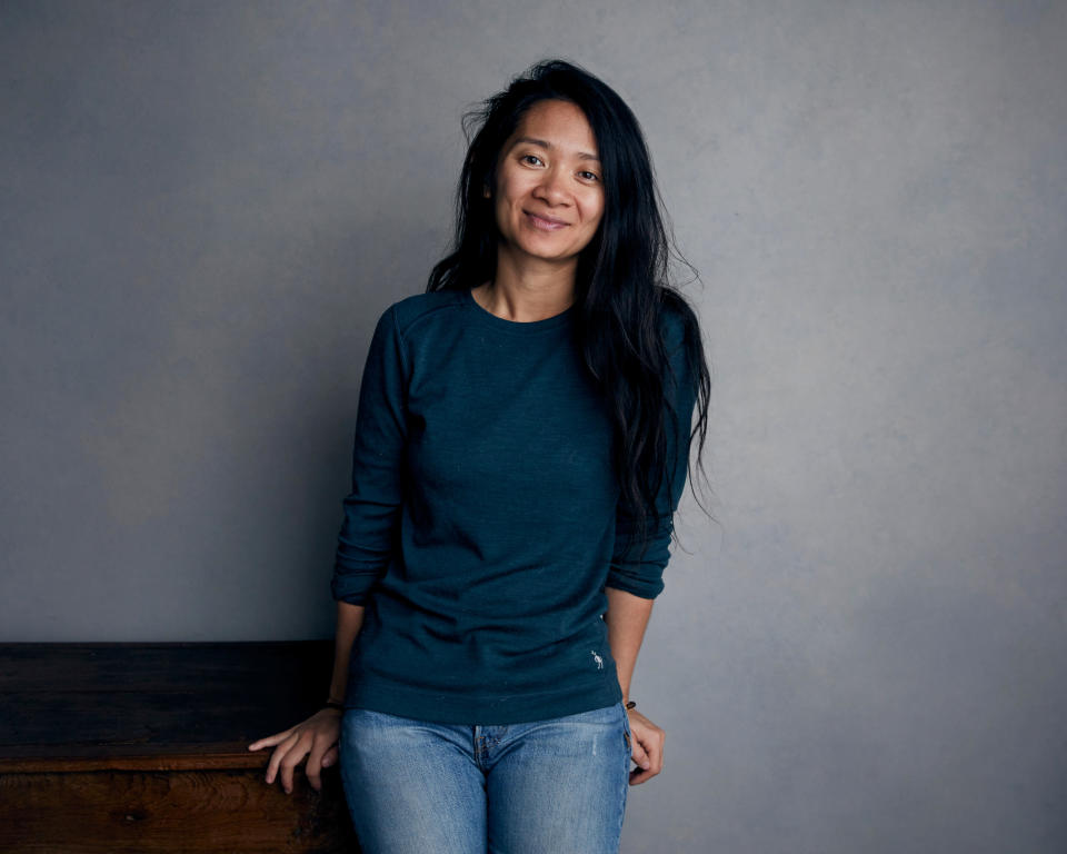 "FILE - Chloe Zhao poses for a portrait during the Sundance Film Festival in Park City, Utah on Jan. 22, 2018. Zhao was nominated for a Golden Globe for best director on Wednesday, Feb. 3, 2021 for her work on ""Nomadland."" ""Nomadland"" has won four prizes, including best picture, at the British Academy Film Awards on Sunday, April 11, 2021. The film's director, Chloe Zhao, became only the second woman to win the best director trophy, and star Frances McDormand was named best actress. ""Nomadland"" also took the cinematography prize on Sunday. Emerald Fennell's revenge comedy ""Promising Young Woman"" was named best British film, while the best actor trophy went to 83-year-old Anthony Hopkins for playing a man grappling with dementia in ""The Father."" An event that was criticized in the recent past with the label #BAFTAsSoWhite rewarded a diverse group of talents, during a pandemic-curbed ceremony at London's Royal Albert Hall. (Photo by Taylor Jewell/Invision/AP, File)"
