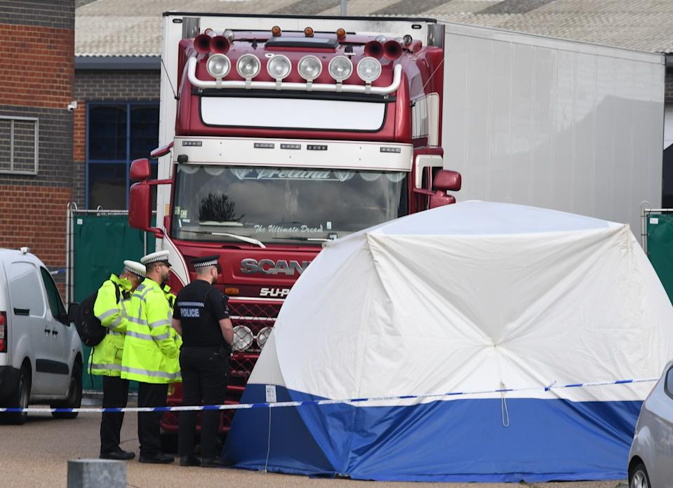 Police activity at the Waterglade Industrial Park in Grays, Essex, after 39 bodies were found inside a lorry container on the industrial estate.