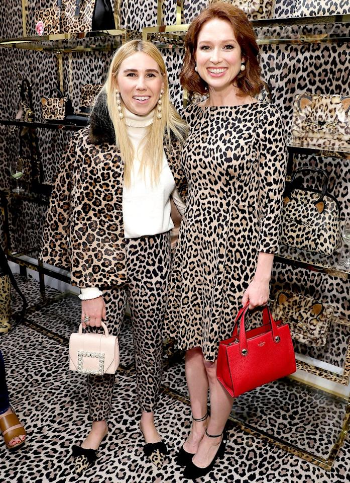 <p>Can you spot actors Zosia Mamet (<em>Girls</em>) and Ellie Kemper (<em>Unbreakable Kimmy Schmidt</em>) at the Kate Spade-hosted Leopard Leopard Leopard Pop-Up Shop? Just look for the funny. (Photo: Getty Images) </p>