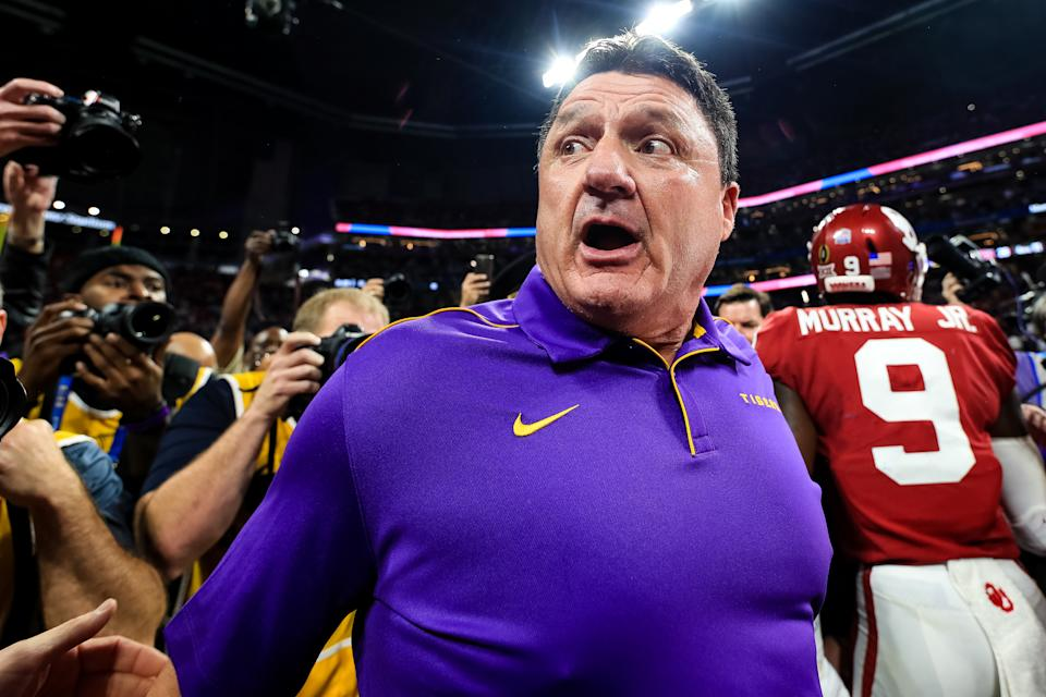 LSU's Ed Orgeron looks on following the Chick-fil-A Peach Bowl against the Oklahoma Sooners on Dec. 28, 2019. (Carmen Mandato/Getty Images)