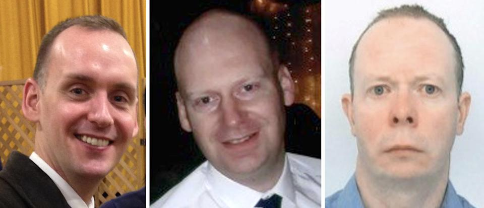 (Left to right) Joe Ritchie-Bennett, James Furlong and David Wails, the three victims of the Reading terror attack. (PA/Thames Valley Police)